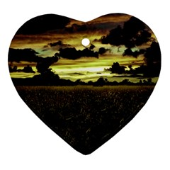 Dark Meadow Landscape  Heart Ornament
