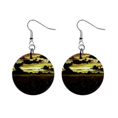 Dark Meadow Landscape  Mini Button Earrings