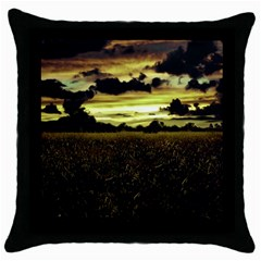 Dark Meadow Landscape  Black Throw Pillow Case