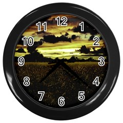 Dark Meadow Landscape  Wall Clock (Black)