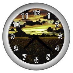 Dark Meadow Landscape  Wall Clock (Silver)