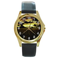 Dark Meadow Landscape  Round Leather Watch (gold Rim)