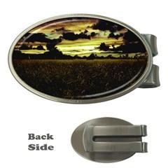 Dark Meadow Landscape  Money Clip (oval)