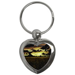 Dark Meadow Landscape  Key Chain (Heart)