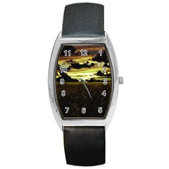 Dark Meadow Landscape  Tonneau Leather Watch