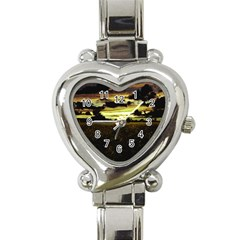 Dark Meadow Landscape  Heart Italian Charm Watch