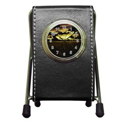Dark Meadow Landscape  Stationery Holder Clock