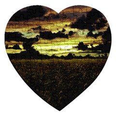 Dark Meadow Landscape  Jigsaw Puzzle (Heart)