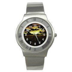 Dark Meadow Landscape  Stainless Steel Watch (Slim)