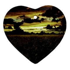 Dark Meadow Landscape  Heart Ornament (Two Sides)
