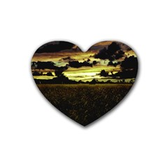 Dark Meadow Landscape  Drink Coasters 4 Pack (heart)