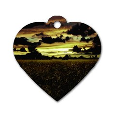 Dark Meadow Landscape  Dog Tag Heart (two Sided)