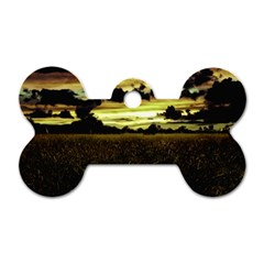 Dark Meadow Landscape  Dog Tag Bone (Two Sided)
