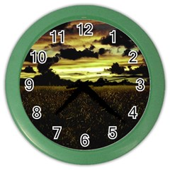 Dark Meadow Landscape  Wall Clock (Color)