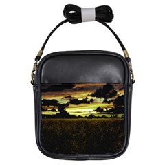 Dark Meadow Landscape  Girl s Sling Bag
