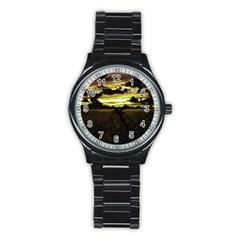 Dark Meadow Landscape  Sport Metal Watch (black)