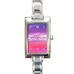 Abstract In Pink & Purple Rectangular Italian Charm Watch