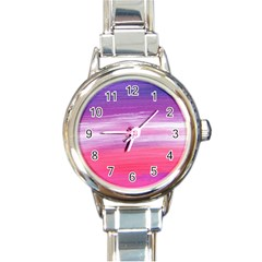 Abstract In Pink & Purple Round Italian Charm Watch