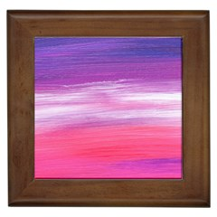 Abstract In Pink & Purple Framed Ceramic Tile