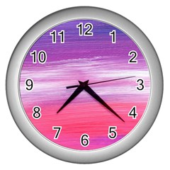Abstract In Pink & Purple Wall Clock (Silver)