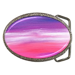 Abstract In Pink & Purple Belt Buckle (oval)