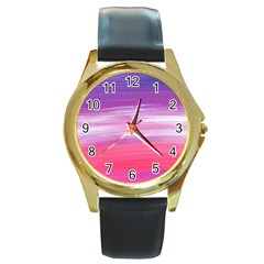 Abstract In Pink & Purple Round Leather Watch (Gold Rim)