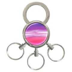 Abstract In Pink & Purple 3-Ring Key Chain