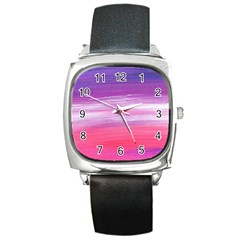 Abstract In Pink & Purple Square Leather Watch