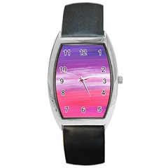 Abstract In Pink & Purple Tonneau Leather Watch