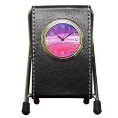 Abstract In Pink & Purple Stationery Holder Clock