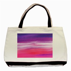 Abstract In Pink & Purple Twin-sided Black Tote Bag