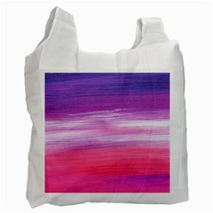 Abstract In Pink & Purple White Reusable Bag (one Side)