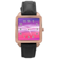 Abstract In Pink & Purple Rose Gold Leather Watch
