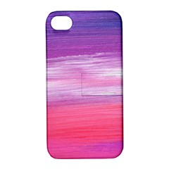 Abstract In Pink & Purple Apple Iphone 4/4s Hardshell Case With Stand