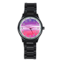 Abstract In Pink & Purple Sport Metal Watch (Black)