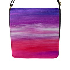 Abstract In Pink & Purple Flap Closure Messenger Bag (large)