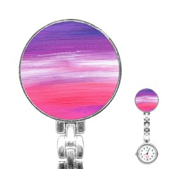 Abstract In Pink & Purple Stainless Steel Nurses Watch