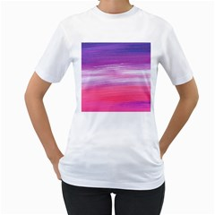 Abstract In Pink & Purple Women s T Shirt (white)