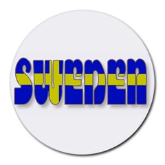 Flag Spells Sweden 8  Mouse Pad (round)