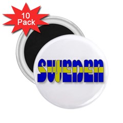 Flag Spells Sweden 2 25  Button Magnet (10 Pack)