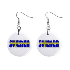 Flag Spells Sweden Mini Button Earrings