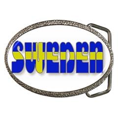 Flag Spells Sweden Belt Buckle (oval)