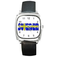 Flag Spells Sweden Square Leather Watch