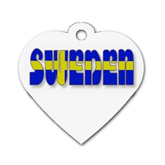 Flag Spells Sweden Dog Tag Heart (One Sided)