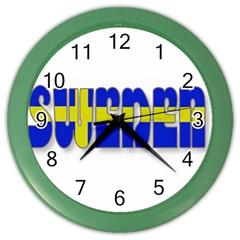 Flag Spells Sweden Wall Clock (color)