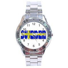 Flag Spells Sweden Stainless Steel Watch