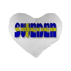 Flag Spells Sweden 16  Premium Heart Shape Cushion