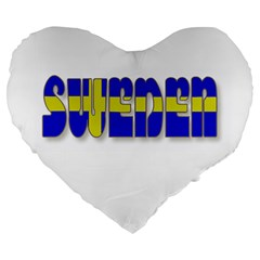 Flag Spells Sweden 19  Premium Heart Shape Cushion