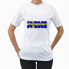 Flag Spells Sweden Women s T-Shirt (White)