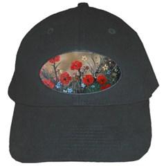 Poppy Garden Black Baseball Cap